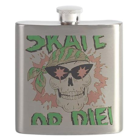 Retro 80s Skate or Die Skull Flask