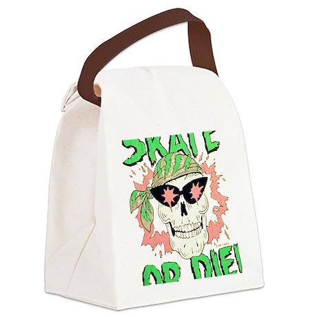 Retro 80s Skate or Die Skull Canvas Lunch Bag