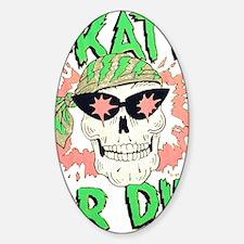 Retro 80s Skate or Die Skull Sticker (Oval)