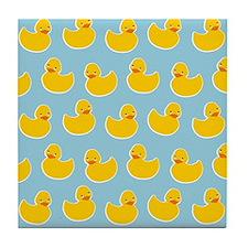 Cute Ducky Pattern Tile Coaster
