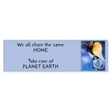 Take Care of Planet Earth Penguin Bumper Bumper Sticker
