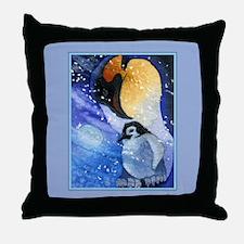 Snowy Penguins Throw Pillow