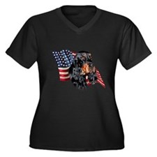 Gordon Setter Flag Women's Plus Size V-Neck Dark T