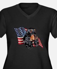 Gordon Setter Flag Women's Plus Size V-Neck Dark T