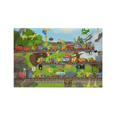Alphabet Train Poster, 36x24, Two Rectangle Magnet