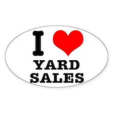 I Heart (Love) Yard Sales Oval Decal