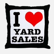 I Heart (Love) Yard Sales Throw Pillow