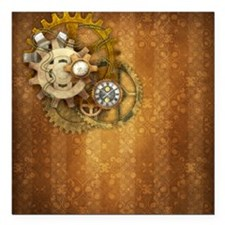 "Steam Dreams: Gears Wall Square Car Magnet 3"" x 3"""