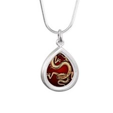 Lucky Chinese Dragon Silver Teardrop Necklace