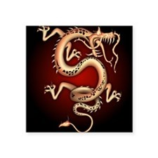"""Lucky Chinese Dragon Square Sticker 3"""" x 3"""""""