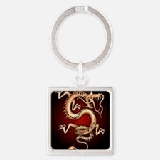 Lucky Chinese Dragon Square Keychain