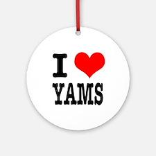 I Heart (Love) Yams Ornament (Round)