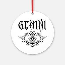 Gemini black letters Round Ornament