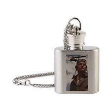 Pilot  his biplane Flask Necklace