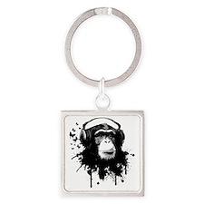 Headphone Monkey Square Keychain