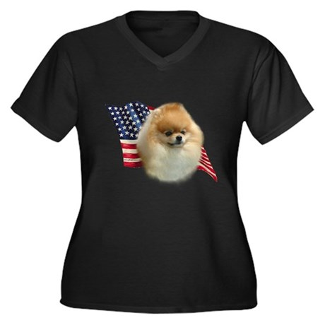 Pomeranian Flag Women's Plus Size V-Neck Dark T-Sh
