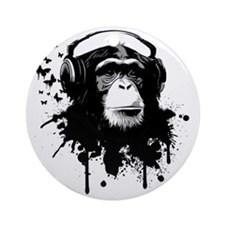 Headphone Monkey Round Ornament