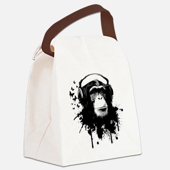 Headphone Monkey Canvas Lunch Bag
