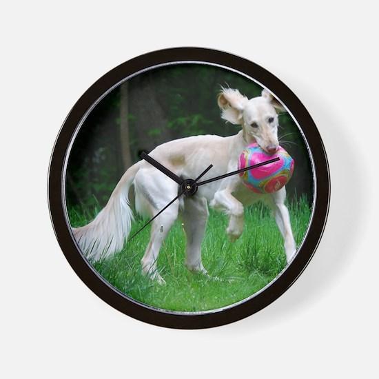 Ears-Out Saluki Ball Play Wall Clock