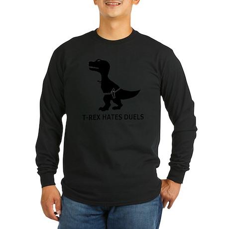 T-Rex Hates Duels-1 Long Sleeve Dark T-Shirt
