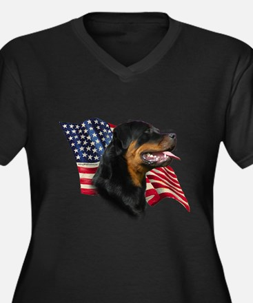 Rottweiler Flag Women's Plus Size V-Neck Dark T-Sh