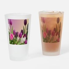 Purple and White Tulips Drinking Glass