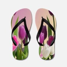 Purple and White Tulips Flip Flops
