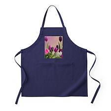 Purple and White Tulips Apron (dark)