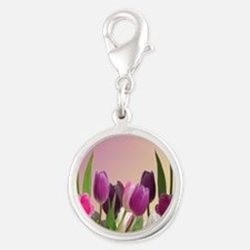 Purple and White Tulips Silver Round Charm