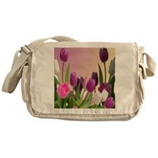 Purple and White Tulips Messenger Bag