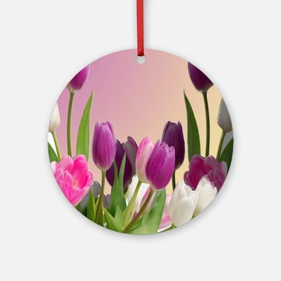Purple and White Tulips Round Ornament