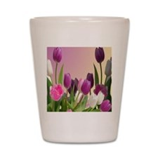 Purple and White Tulips Shot Glass