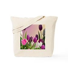 Purple and White Tulips Tote Bag