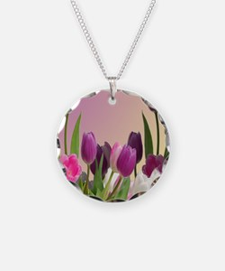 Purple and White Tulips Necklace
