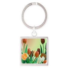 Peach - Orange Tulips Square Keychain