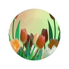 "Peach - Orange Tulips 3.5"" Button"
