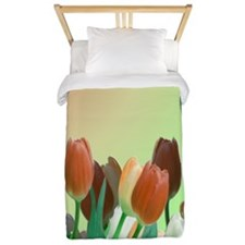 Peach - Orange Tulips Twin Duvet