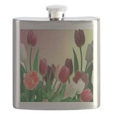 Red and White Tuliips Flask