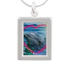 Sweet heart Dolphin... L Silver Portrait Necklace