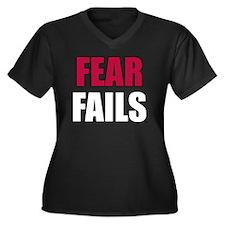 FEAR FAILS Women's Plus Size Dark V-Neck T-Shirt