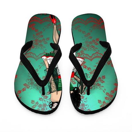 Dia De Los Muertos Stockings Pin-up Flip Flops