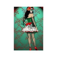 Dia De Los Muertos Stockings Pin- Rectangle Magnet