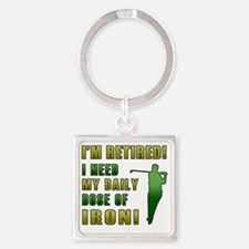 Funny Retired Golfer Square Keychain
