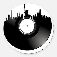 New York City Vinyl Record Round Car Magnet