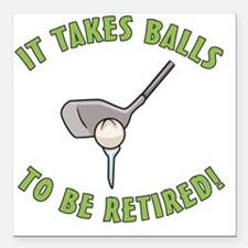 "Funny Golfing Retirement Square Car Magnet 3"" x 3"""