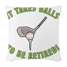 Funny Golfing Retirement Woven Throw Pillow