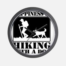 Happiness is Hiking with a Dog Wall Clock