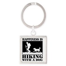 Happiness is Hiking with a Dog Square Keychain