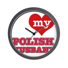 I Love My Polish Husband Wall Clock