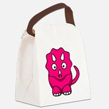 Cute Pink Triceratops Canvas Lunch Bag